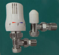 "TWIN PACK - Thermostatic Radiator Valve Set 15mm x 1/2"" TRV Lockshield Valves"