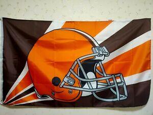 Cleveland Browns Helmet Lighting Flag 3X5 FT NFL Banner Polyester
