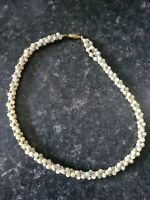 Vintage Cluster Mother of Pearl Polished Beads Collar Choaker Necklace 41cm Long