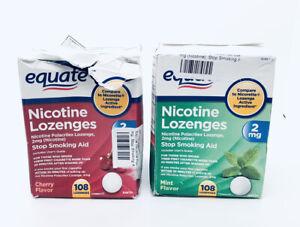 2 Equate Nicotine Lozenges Stop Smoking Aid Mint, Cherry 2mg 216 Lozenges 07/22