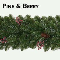 9FT 2.7M Pine cone and Frosted Berry Christmas Garland Xmas Wedding Decoration