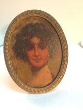 Ornate Easel Back Oval Frame w/ Portrait Of a Woman 1914 Artist Alfred L Brennan