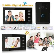 "2.4G 7"" Doorbell Video Door Phone DoorBell Intercom System 2-Monitor IR Camera"