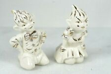 Set 2 1950s Gilner Pottery Mini Pixie Elf Sprite Kneeling