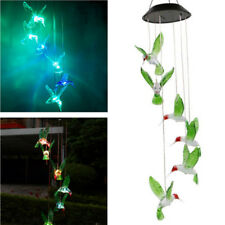 Hummingbird LED Color-Changing Power Solar Wind Chimes Yard Home Garden Decor US
