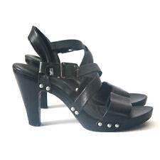 Size 8 - LEVI'S Women's Black Leather Strap Heel Sandals