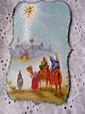 Vtg Img Glittered CHRISTMAS Card Ornament - STAR LEADING THE THREE KINGS