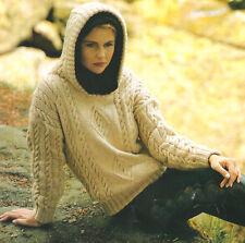 """ARAN CABLE & DIAMOND Pullover con cappuccio 30 """" - 40"""" knitting pattern"""