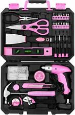 Deko Pink 98 Piece Tool Set General Household Hand Tool Kit with Plastic Toolbox