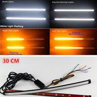 Universal Switchback Flowing DRL LED Strip Flash Strobe Light 30cm White/Amber
