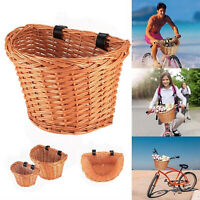 Wicker D-Shaped Bicycle Basket Portable Shopping Basket Mountain Bike Vegetable