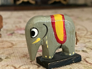 Vintage Miniature Dollhouse Carved Hand Painted Children's Elephant Toy France