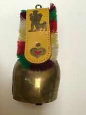 Vintage Swiss Cow Bell with marking - hand forged brass with leather strap