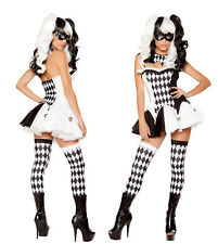 Women Harlequin Jester Costume Halloween Clown Medieval Adult Outfit Fancy Dress
