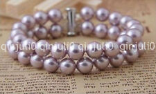 "Real Natural 2 rows 8MM purple South Sea shell pearl bracelet 7.5"" J30389"