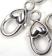 27x13mm Antique Silver Pewter Heart Lobster Claw Clasps (5) ~ Lead-Free