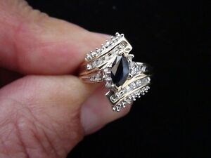 Vintage 10kt gold ring with Sapphire cluster and Diamond accents.