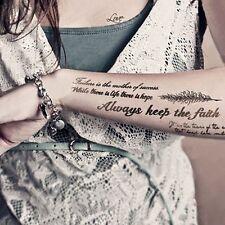 2-Sheet Temporary Tattoos Paper Lovely English Words Body Art Women Fake Tattoo