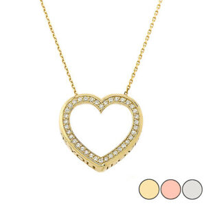 "Solid Gold  Heart ""I LOVE YOU"" Necklace (Yellow/White/Rose)(0.62"")"