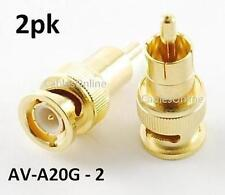 2pk Gold BNC Male Plug to RCA Plug Audio/Video Adapter