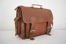 "16x12"" Real Leather Padded Briefcase Macbook Laptop Satchel Suitcase Messenger"