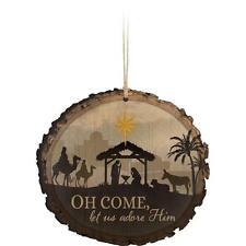 Primitive Wood Barky Christmas Ornament O Come Let Us Adore Him P Graham Dunn