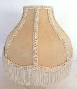"""Vtg Lamp Shade Ivory Cream Floral Victorian Damask Fringe 8 Panel 7x3.5x10"""" EUC"""