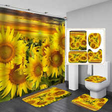 Golden Sunflower Bath Mat Toilet Cover Rug Shower Curtain Bathroom Decor