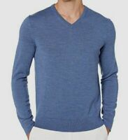 $209 Calvin Klein Men's Sweatshirt Pullover Wool V-Neck Sweater Shirt Blue M