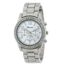 Business Dress Watch Women Watch Ladies Faux Chronograph Quartz Round Crystals