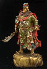 Chinese Bronze Color Painting Dragon Robe Guan Gong Guan Yu Guan Yunchang Statue