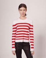 NWT$395 Rag & Bone Lillian 100% Cashmere stripe Sweater red ivory W2726368T sz S