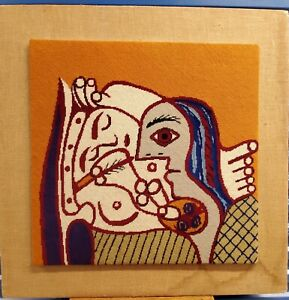 Custom Picasso Mid Century Mod Vtg Abstract Needlepoint Framed Canvas Yarn 36""