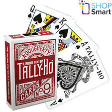 BICYCLE TALLY HO FAN BACK PLAYING CARDS DECK STANDARD INDEX LINOID FINISH RED