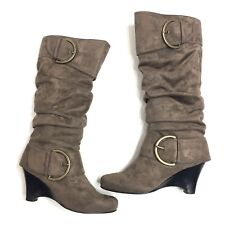 Naughty Monkey D-Ring Knee High Tall Boots Wedge Heel Side Zip Womens Size 7.5