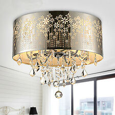 Chrome Crystal 4 Light Round Ceiling Chandelier Pendant Fixture Lighting Lamp