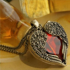 Women Vintage Angel Wings Heart Crystal Pendant Long Chain Necklace Jewelry