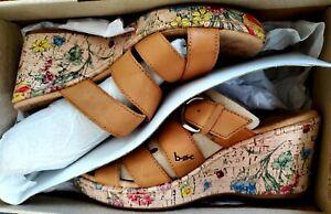 NEW! Born BOC Red Cork Wedge Heel Sandals 8M Floral Print Heel Slip On Leather