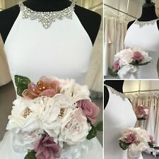 Wedding Bridal Brooch Bouquet Ivory Pink French Beaded Flowers Handmade