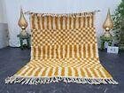 "Moroccan Handmade Beni Ourain Rug 4'2""x5' Berber Checkered White Mustard Carpet"