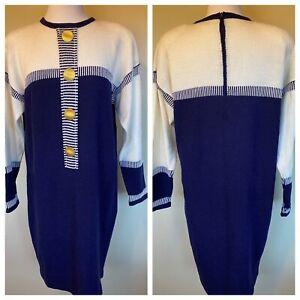 Antonella Preve 80s Santana Knit Dress L Navy Blue White Large Gold Buttons EUC