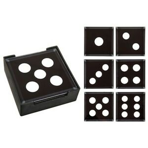 Dice Glass Coasters Glass Set of 6 in Holder