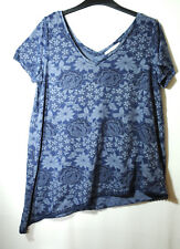 NAVY BLUE FLORAL LADIES CASUAL TOP BLOUSE GEORGE SIZE 12