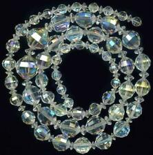 "BEADS Swarovski Cut Austrian Crystal AB Flash Clear Faceted  6-15mm 26"" VINTAGE"