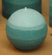 "Teal Ball Candle 3"" Layered Rustic Sphere - Striped Round Pillar Nordic Candle"