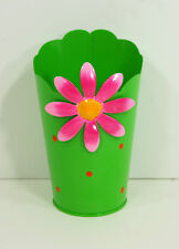 Bright Green Metal Container Scallop Top Edge Hot Pink Flower Utensil Pen Holder