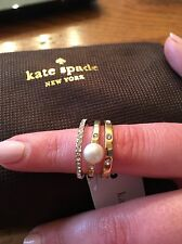 NWT Kate Spade New York Pearly Delight Stack Rings (3). Cream Multi. Size 8