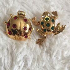 LOT OF TWO Vintage Signed Avon Ladybug & Frog Tac Pin Brooch Rhinestone Costume