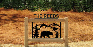 PERSONALIZED BEAR LOG SIGN