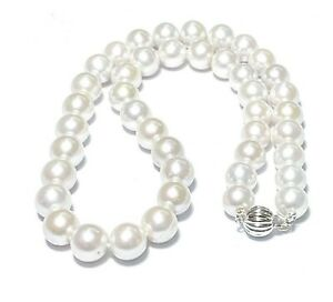 "Mirror Luster Edison White Round 9 - 10.5mm Cultured Round Pearl 18"" Necklace"